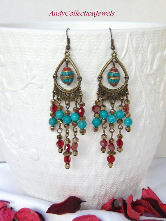 Gypsy bohemian red earrings/copper hippie earrings/nepal long earrings/turquoise red boho earrings/gift for her crystals jewelry/ooak gift