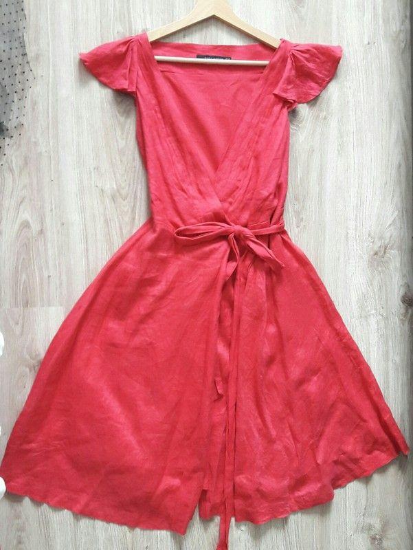 Piękna czerwona kopertowa sukienka z lnu Zara, rozkoszowana, świetna jakość