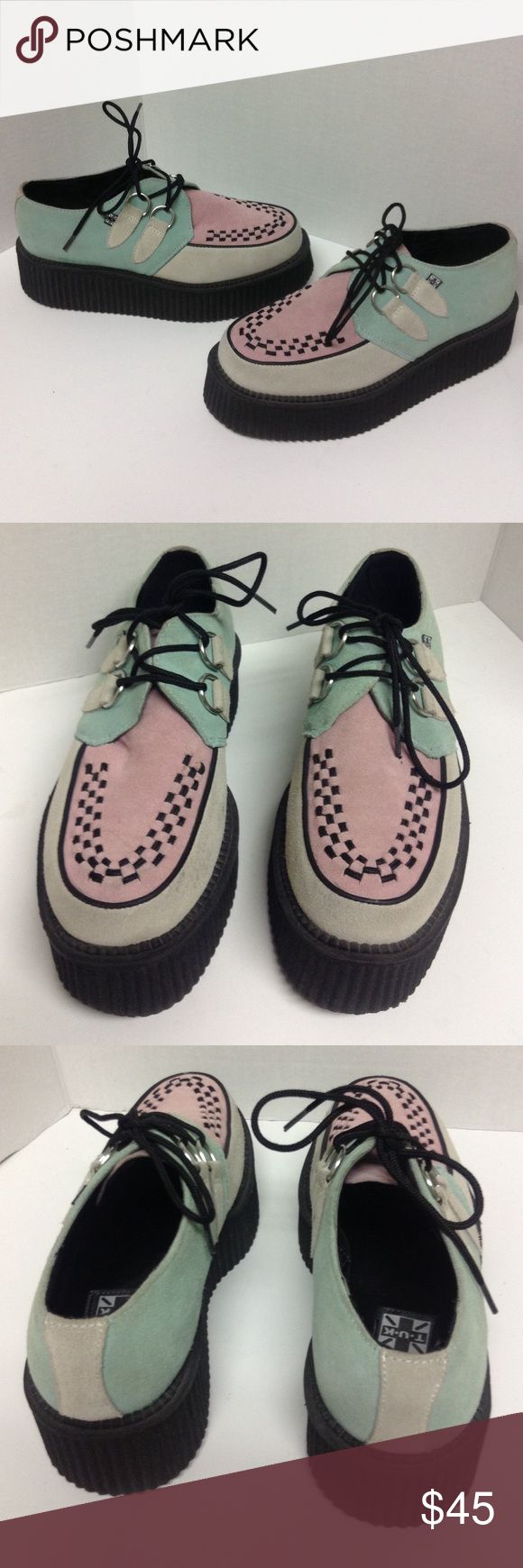 TUK Pink & Green Suede Creepers TUK Pink & Green Suede Creepers Sz8 in women's . Gently worn great condition with very light signs of wear. TUK Shoes Platforms