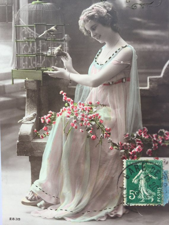 Caged gezelschapsvogels * prachtige Franse dame zorg voor haar vogels * Griekse godin jurk * antieke Franse briefkaart overhandigde getint