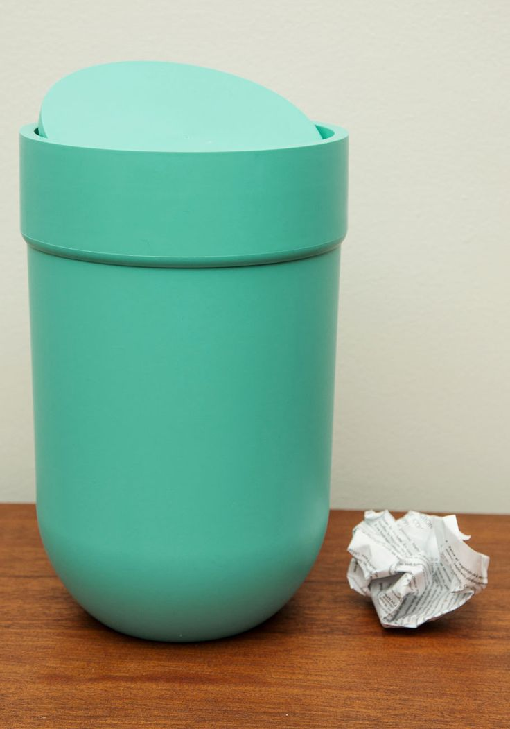 Touch and Throw Trash Can. Your powder room will thank you, not just for discarding the excess, but for adding a burst of cool color with this sky-blue trashcan. #blue #modcloth