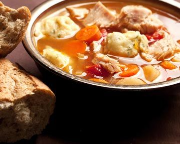 Boxing Day Soup: Sometimes, the best part of the meal is what's left over! Turkey, vegetables - even leftover gravy and cranberry sauce make this soup taste delicious. And don't forget the #CreamerPotatoes!