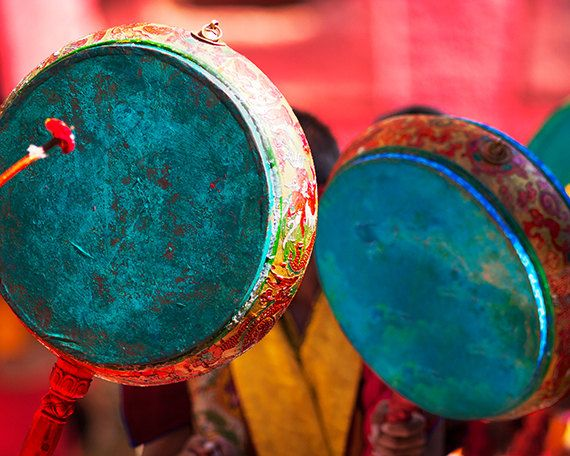 travel photography, Tibet, Buddhist, exotic, Asia, fine art, East, monastery, ritual, music, drums, home decor, 8x10