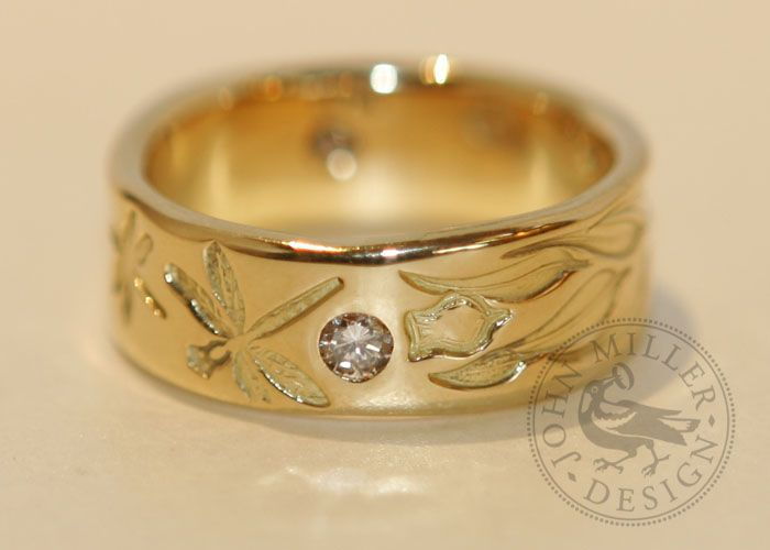 Golden Dragonflies and gum leaves in18ct Yellow gold. Handmade in Yallingup, Western Australia by John Miller Design