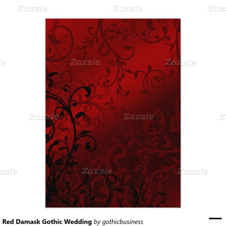 Roter Damast-gotische Hochzeit 12,7 X 17,8 Cm Einladungskarte