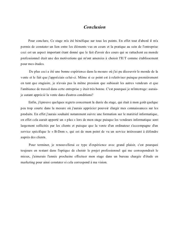 15 Conclusion Rapport De Stage 3eme Exemple Ala Ouzarf