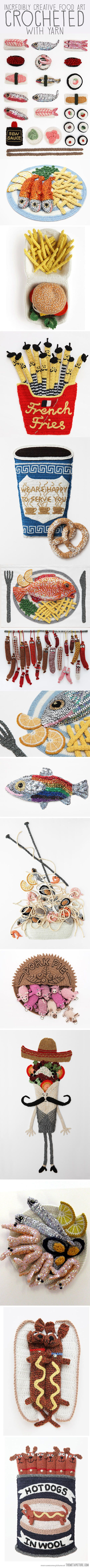 Incredibly creative food art crocheted with yarn…