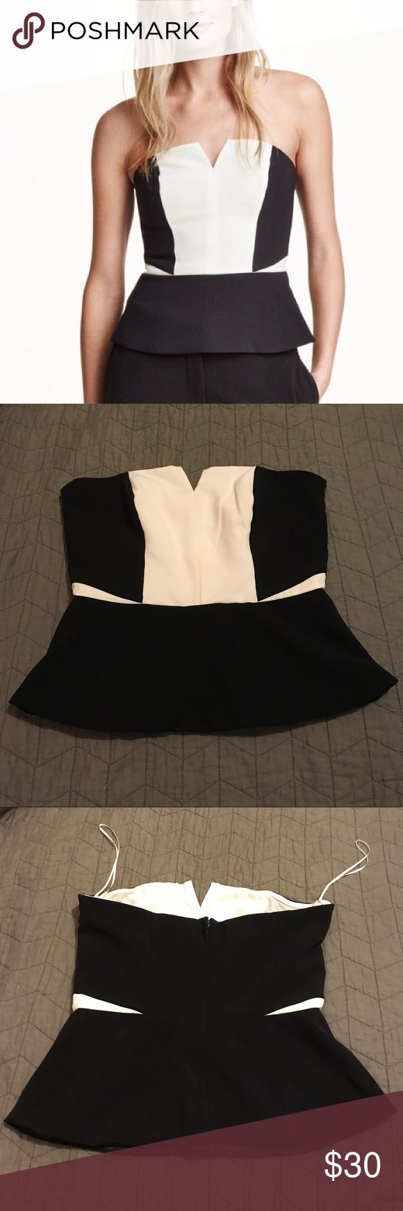 H&M Black and White Peplum Top Black and white strapless peplum top from H&M. Size 12. H&M Tops