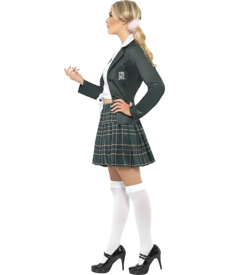 Preppy Schoolgirl Costume - green fancy dress costume for parties and events. Great for a 'Back to School' themed party or even a Britney Spears costume! Complete your look with some white stockings and a schoolgirl wig with plaits.