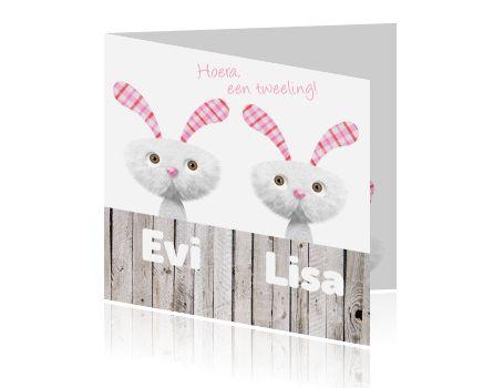 Gefeliciteerd met de tweeling! Laat iedereen weten dat ze zijn geboren met deze schattige kaart. Leuk geboortekaartje voor een tweeling met twee schattige roze konijntjes en steigerhout voor twee meisjes. Lief geboortekaartje van Luckz.