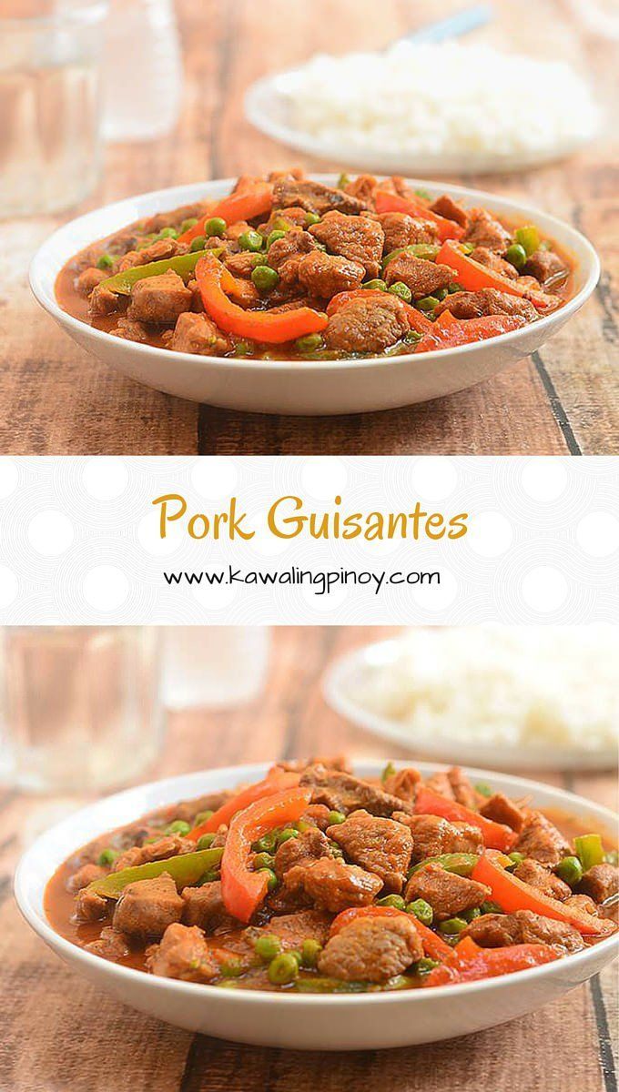 Pork Guisantes is a hearty, tomato-based stew made with pork strips, green peas and bell peppers