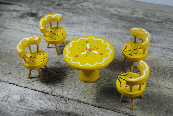 Doll House Furniture Table and Chairs vintage wood 1960s era Dinette set yellow childs toys