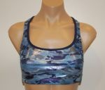 Blue Camo Metallic :: Sports Bra :: Spandex Sports Bras and Athletic Wear for Volleyball, Soccer, Field Hockey, Lacrosse, Running and all sports from #bskinz