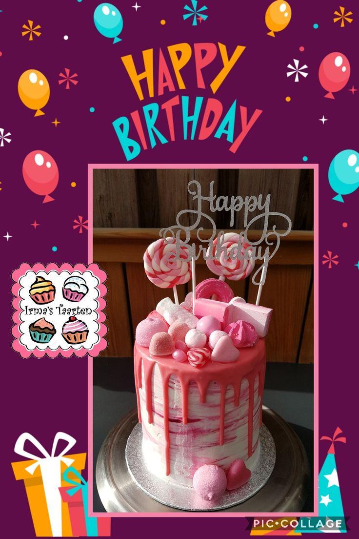 Roze drip taart met snoep