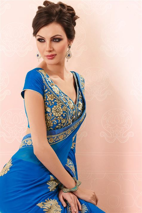Pick this appealing Blue Georgette saree for your next party @ FLAT 50% off. No coupon code required.