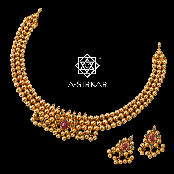 Marathi Ball Har : A very popular design and one of our own favourites, this very un-Bengali necklace actually fuses the best of West and East India. Modelled on the must-have Kolhapuri Thushi, a choker necklace with closely woven round gold beads, often with a bright fabric backing, the Marathi Ball Har deviates from the original in its manufacture by substituting the beads with half-topas, dispensing with the stitched cloth, and introducing enamelling instead of small settings.