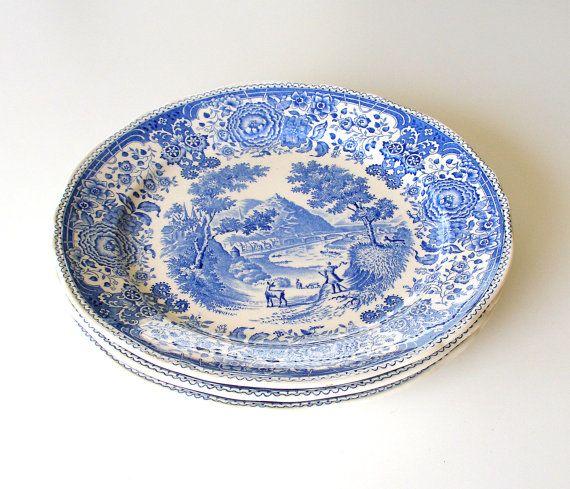 Villeroy Boch Made In Germany: Villeroy & Boch Antique Dinner Plates. Burgenland Blue