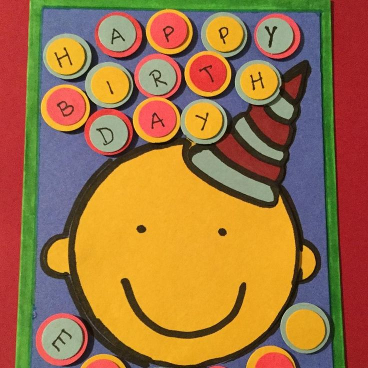 """3"""" circle #punch for the #smiley face. #freehand #fussycut #partyhat. 8mm (0.5"""") and 16mm (5/8"""") circle punches for letter bubbles. #toddparr #inspired"""