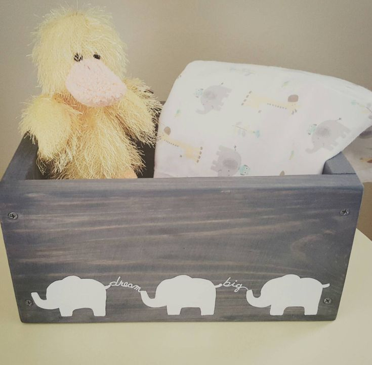 Elephant nursery decor, Unisex baby gift box, Diaper wipe caddy, Dream big babys room, Keepsake hand painted wooden box, Gray gender neutral by CarriageOnCherry on Etsy https://www.etsy.com/listing/510433595/elephant-nursery-decor-unisex-baby-gift