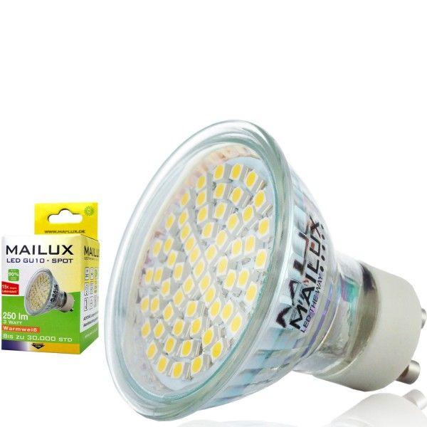 Ein 3 Watt GU10 LED Spot mit klarem Schutzglas für Allgemeinbeleuchtung. Lichtfarbe warmweiß (2700K). Material Kunststoff. Ersetzt ca. 20-25 Watt Halogenstrahler. http://www.leddiscount.de/led-leuchtmittel/gu10/50/mailux-3-0-watt-gu10-led-klar?c=7