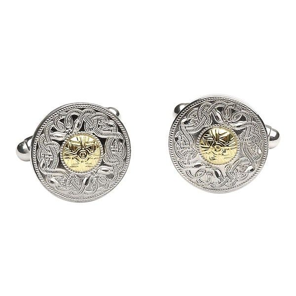 Celtic Warrior Small Cuff Links with 18k Gold Bead - Celtic Cuff-Links - Rings from Ireland. Inspired by the Ardagh Chalice which is the finest example of eight century metal, this item truly reflects this exquisite metalwork.