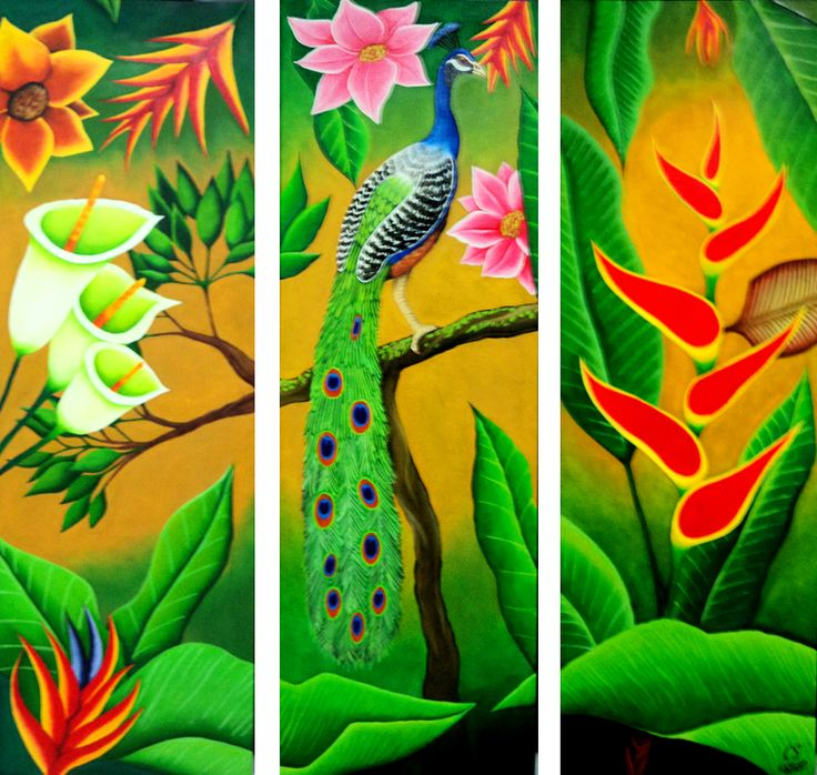 Flores + Pavo Real / Flowers + Peacock. Técnica: Óleo sobre lienzo Technique: Oil over canvas.