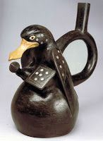 Anthropomorphic duck with club and shield. Moche d.C - 750 d. Hispanic Culture, Mesoamerican, Inca, Native American Art, Ancient Art, Archaeology, Decorative Bells, South America, The Past