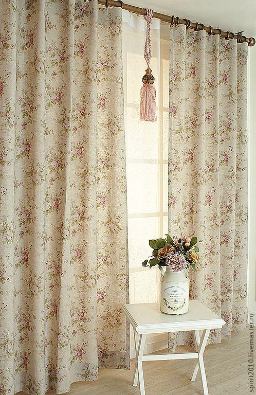 """Купить Шторы льняные """"Английские розы-2"""" - бледно-розовый, шторы, шторы для гостиной"""