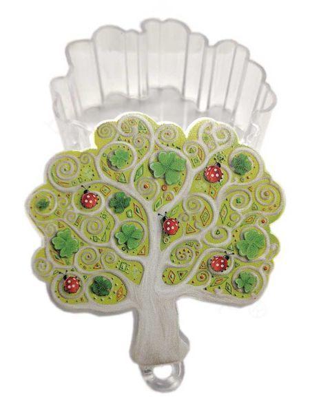 Scatolina in acrilico soggetto albero con coccinelle e quadrifogli