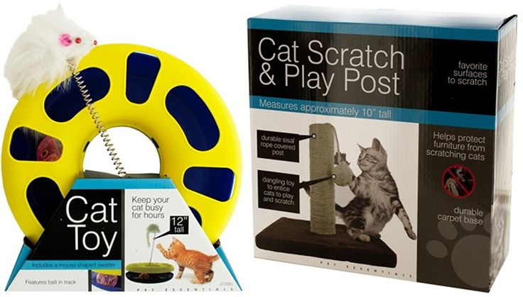 Ball Track Cat Toy with Mouse Swatter Bundle With Cat Scratch and Play Post   : Cats scratching post