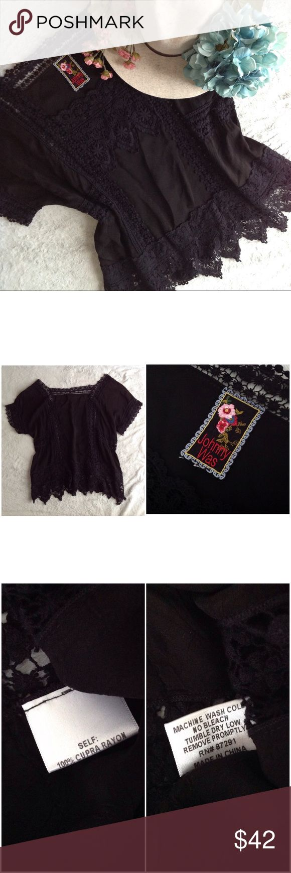 Johnny Was Black Embroidered Boho Flowy Hippie Top Great used condition. Beautiful tunic top by Johnny Was in solid black. 100% cupra rayon, with delicate embroidery along the neckline, sleeve cuffs, bottom hem and along the bodice, with a slightly sheer peek-a-book panel at the waist and scalloped edge at the bottom. Note: size tag has been removed but listed as a medium based on measurements. Please look at measurement photos and ask any questions about sizing! A couple faint spots on back…