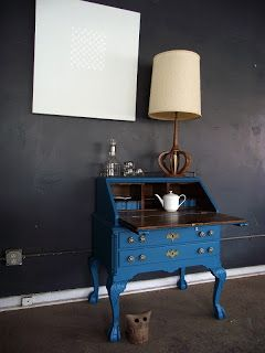Amazing Aqua Secretary Desk / Bar / Entry Table