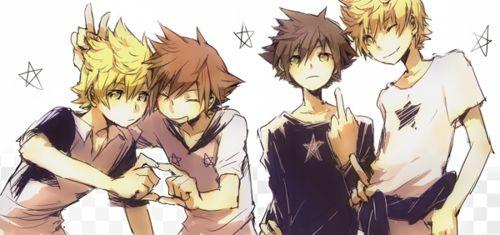 Kingdom Hearts -Sora, Roxas, Ventus and Vanitas ( oh here he is, go ahead van flip a bird at everyone how cute ;p )