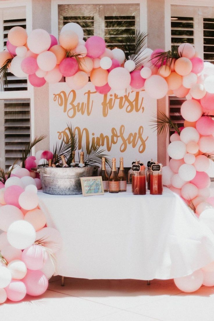 How Pretty Is This Pink Mimosa Sign For An Engagement Or Bachelorette Party Bridalshower Bridal Shower Brunch Wedding Bridal Shower Bridal Shower Planning