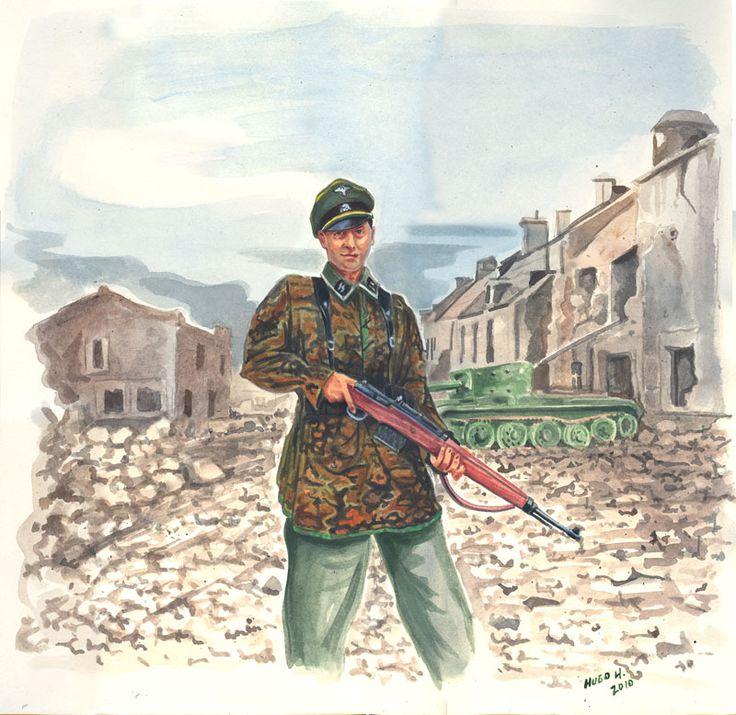 WWII re-enactor portraying 12th SS Panzergrenadier (1st ss cadre) Near Caen June 1944