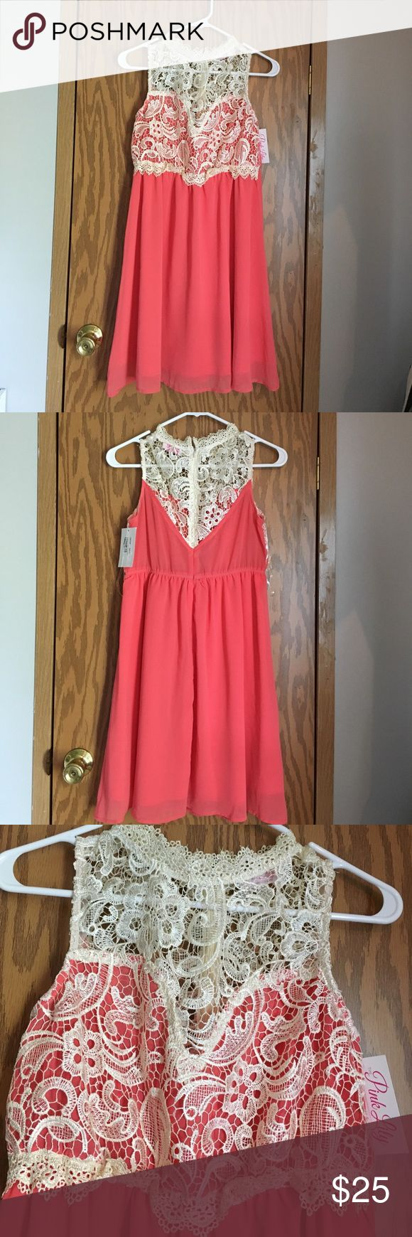 Pink Lily Coral lace dress Never been worn! Still has the tags. Lace top and double lined coral skirt. Size Medium. Pink Lily Dresses Midi