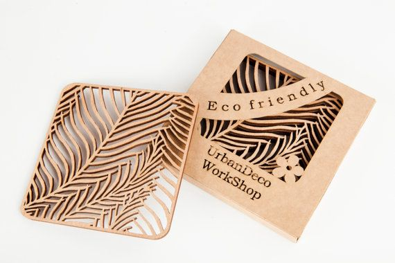 "Set of 2 wooden cup coasters ""palm leaf"",natural wood,drink coaster,laser cut,dark wood,wedding gift,gift idea,cup pad,drinks mats"