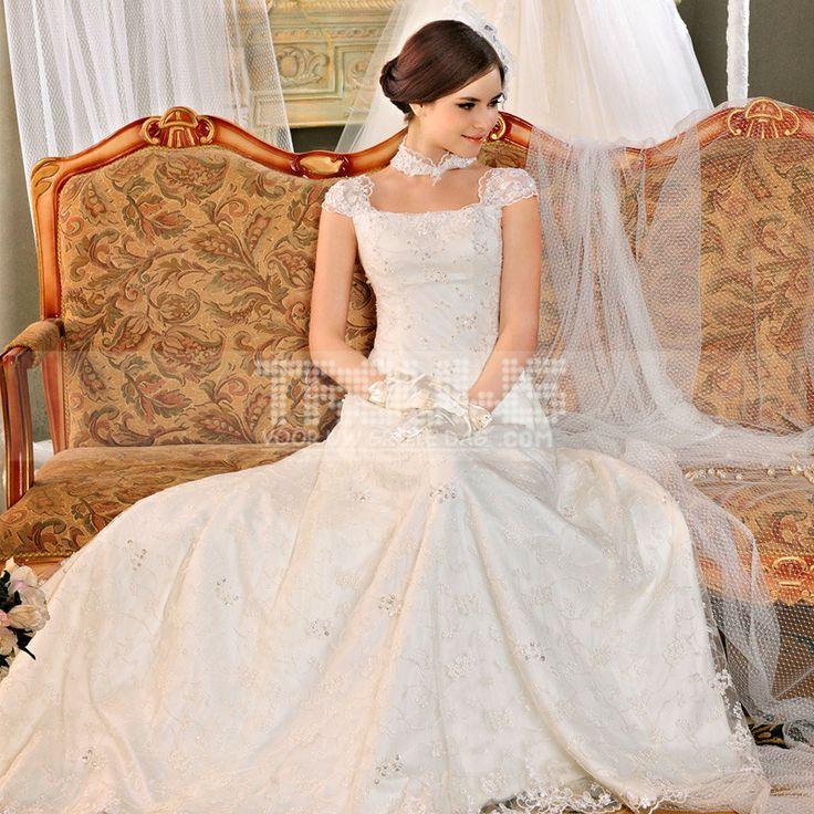 http://www.trouws.com/trouwjurken-c1 Koreaanse stijl van de bruiloft bruidsjurk kant zak schouderbanden trailing trouwjurk - €168.80 , Trouws.com