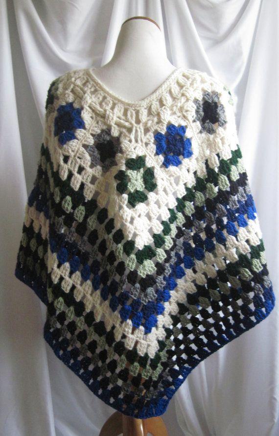 Crochet Poncho chal abuela plazas de blanco por CrochetCluster                                                                                                                                                                                 Más