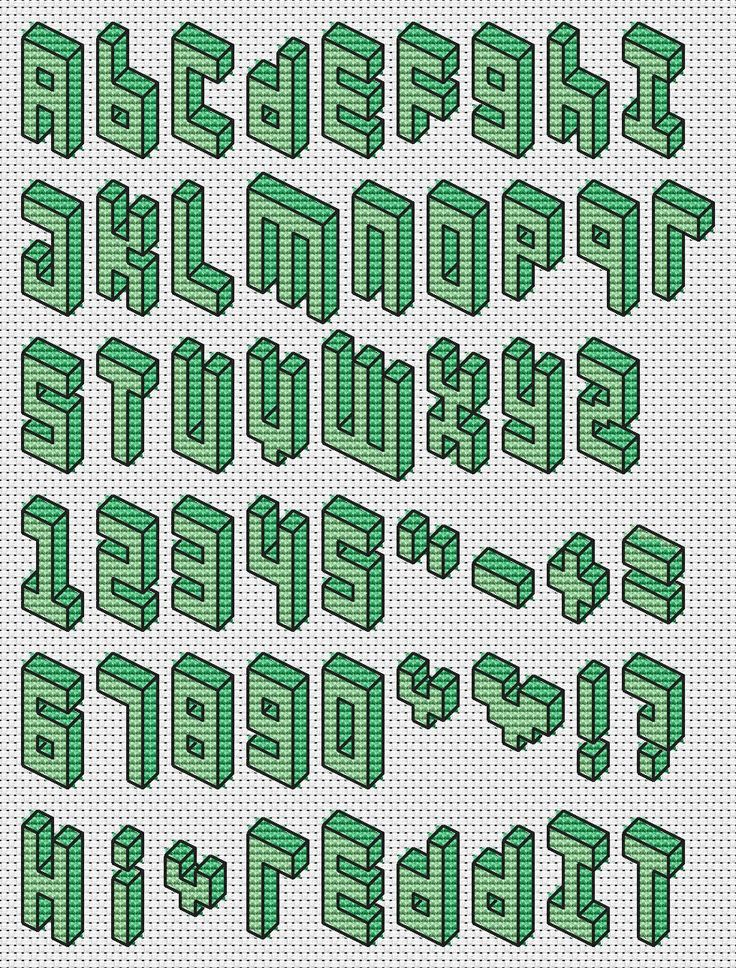Cross Stitch 3D Pixel Font - Imgur                                                                                                                                                     More