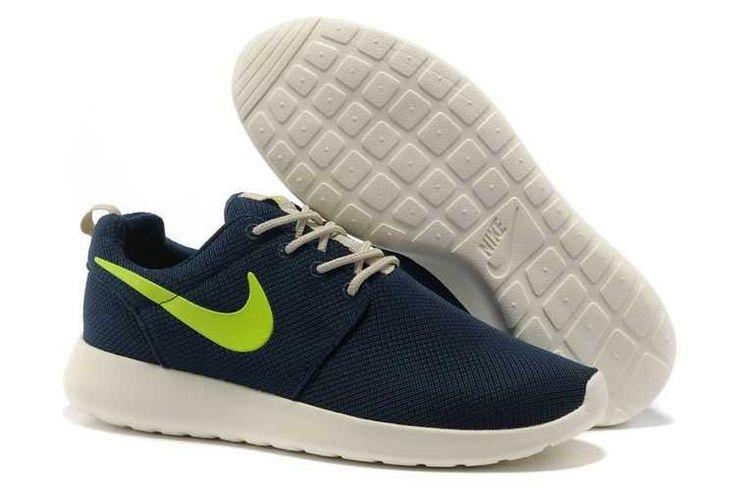 Real Nike Roshe Run Mesh Junior Womens Dark Blue Fluorescence Green Black Friday Sale