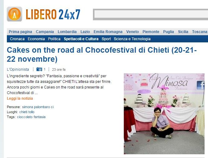 Cakes on the road a Chieti per il Chocofestival. Ne parla Libero