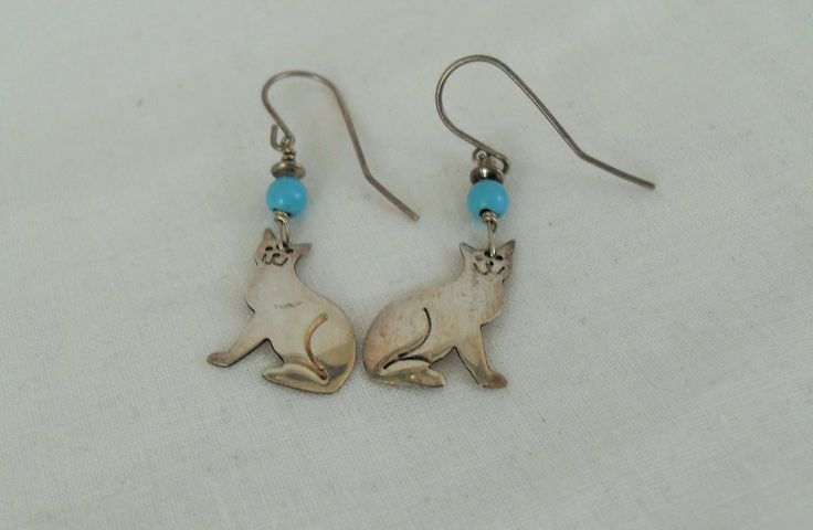 Sassil LaMuth Sterling Turquoise Cat Earrings, Southwestern pierced earrings, Designer signed dangle drop pierced gift Gingerslittlegems by GingersLittleGems on Etsy