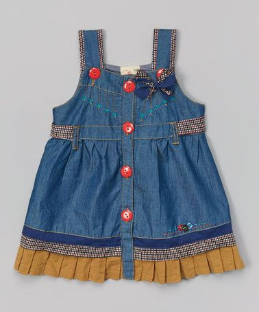 Look what I found on #zulily! Denim Blue & Yellow Jumper - Infant, Toddler & Girls #zulilyfinds