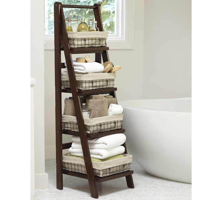 Benchwright Ladder Floor Storage If You Have The Space And Color Coordinate Products And Towels