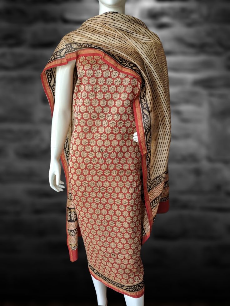 Buy Chanderi Dress Material with Floral Print - Red