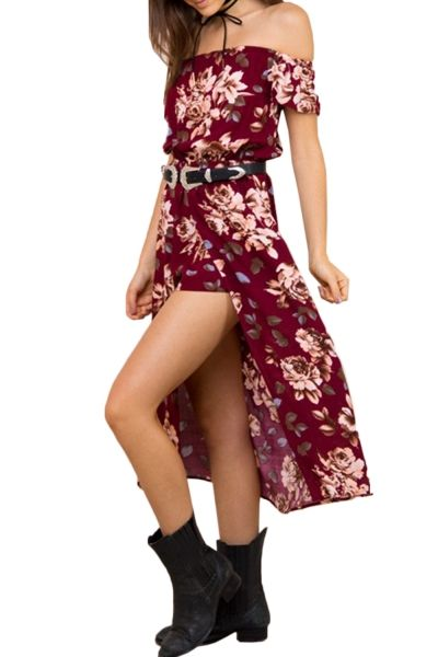 Women Floral Print Off-the-Shoulder High Slit Romper