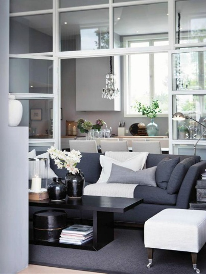 Living room - Slettvoll, style, blue and grey.
