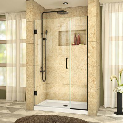 """DreamLine Unidoor Plus 72"""" x 41"""" Hinged Frameless Shower Door with ClearMax™ Technology Finish: Satin Black, Glass Type: Clear Glass"""