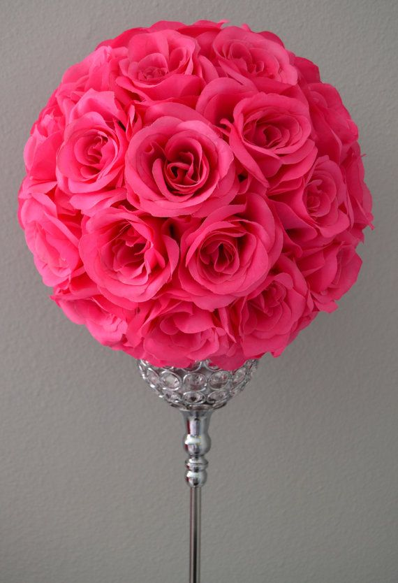 Fuchsia hot pink flower ball wedding centerpiece